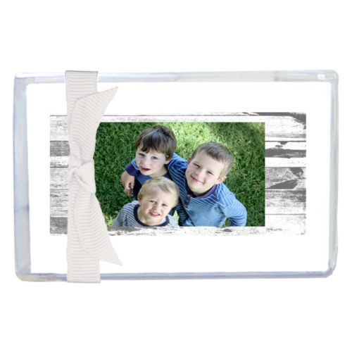 Personalized enclosure cards personalized with white rustic pattern and photo