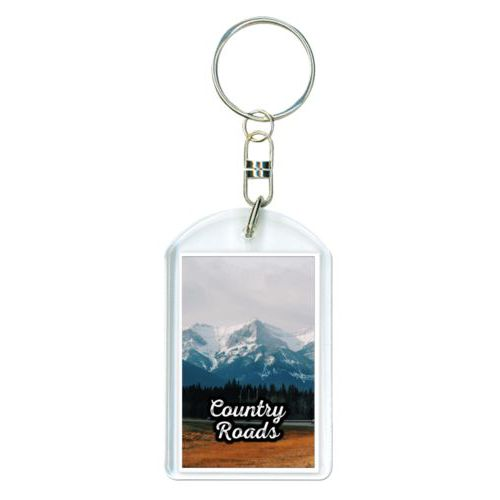 "Personalized keychain personalized with photo and the saying ""Country Roads"""
