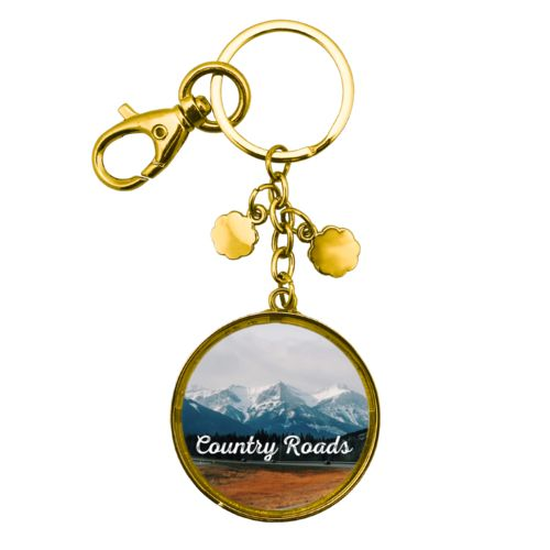 "Personalized metal keychain personalized with photo and the saying ""Country Roads"""