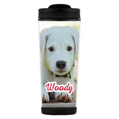"Custom tall coffee mug personalized with photo and the saying ""Woody"""