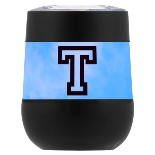 "Personalized insulated wine tumbler personalized with light blue cloud pattern and the saying ""T"""