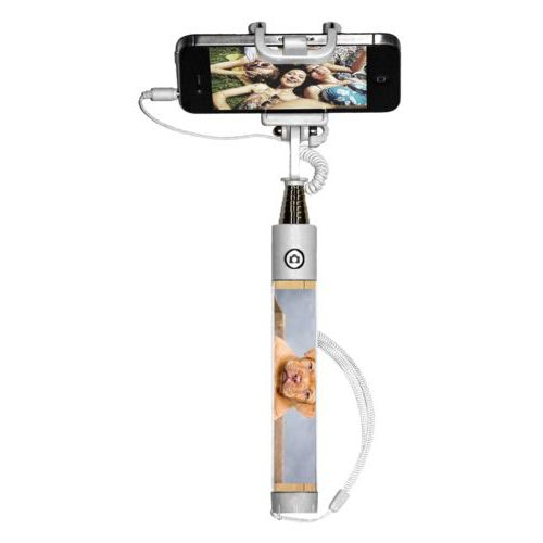 Personalized selfie stick personalized with natural wood pattern and photo