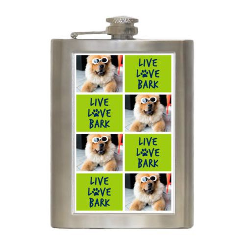"Personalized 8oz flask personalized with a photo and the saying ""Live love bark"" in navy blue and juicy green"