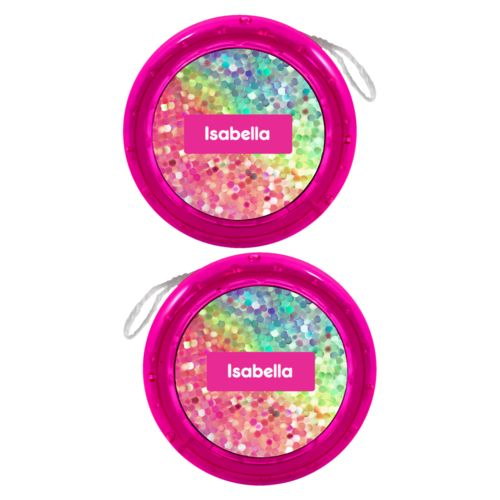 Personalized yoyo personalized with glitter pattern and name in minty