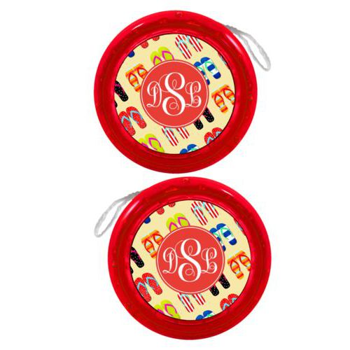 Personalized yoyo personalized with flip flops pattern and monogram in red orange