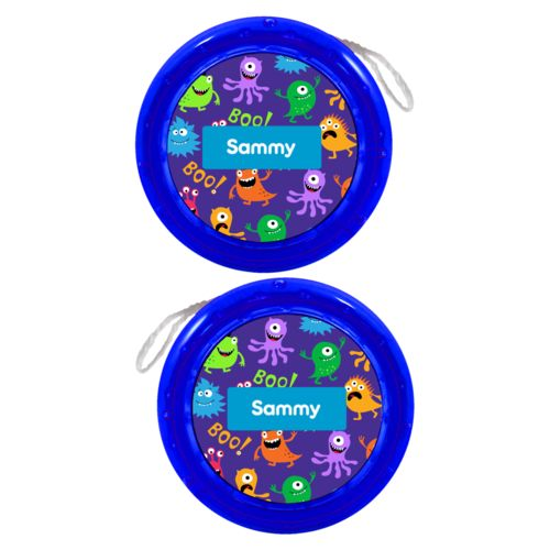 Personalized yoyo personalized with monsters pattern and name in caribbean blue