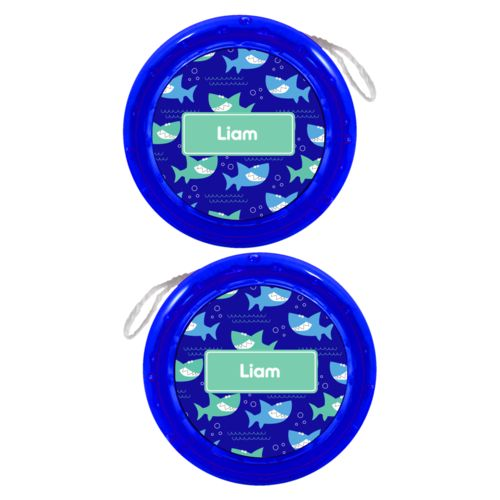 Personalized yoyo personalized with sharks pattern and name in mint