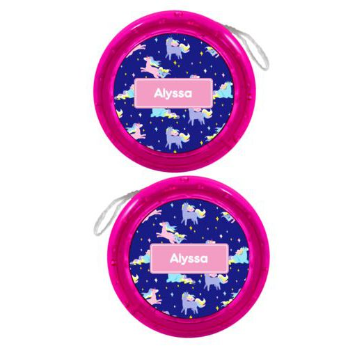 Personalized yoyo personalized with animals unicorn pattern and name in pink