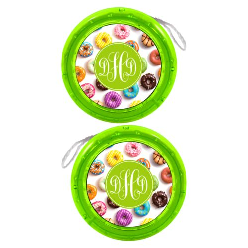 Personalized yoyo personalized with donuts pattern and monogram in eggplant