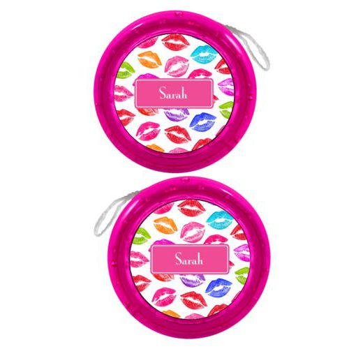 Personalized yoyo personalized with smooch pattern and name in paparte pink