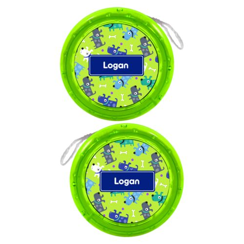 Personalized yoyo personalized with puppies pattern and name in marine