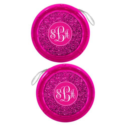 Personalized yoyo personalized with pink glitter pattern and monogram in bright pink