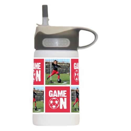 "Kids water bottle personalized with a photo and the saying ""Game On"" in cherry red and white"