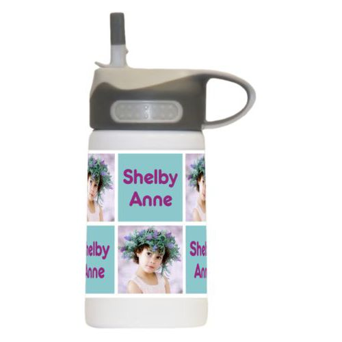 "Boys water bottle personalized with a photo and the saying ""Shelby Anne"" in dream on - plum and blizzard blue"