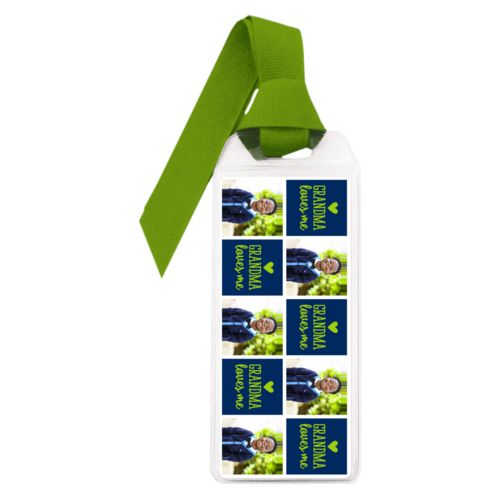 "Personalized book mark personalized with a photo and the saying ""Grandma loves me"" in juicy green and navy blue"