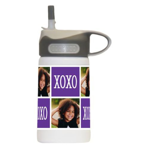 "Kids water bottle personalized with a photo and the saying ""xoxo"" in purple and white"