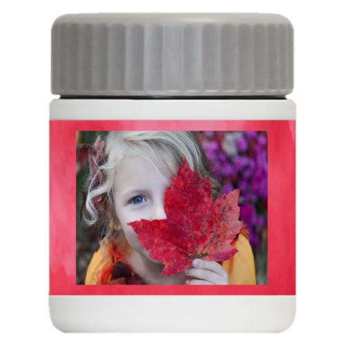 Personalized 12oz food jar personalized with red cloud pattern and photo