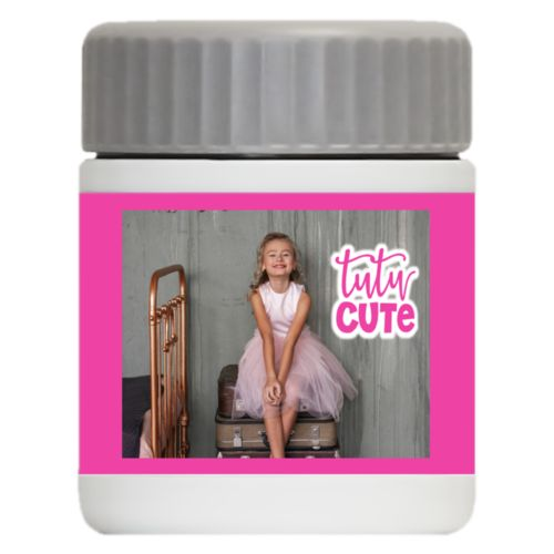 "Personalized 12oz food jar personalized with photo and the saying ""tutu cute"""
