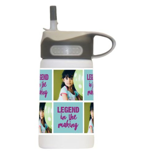 "Custom kids water bottle personalized with a photo and the saying ""Legend in the Making"" in dream on - plum and blizzard blue"