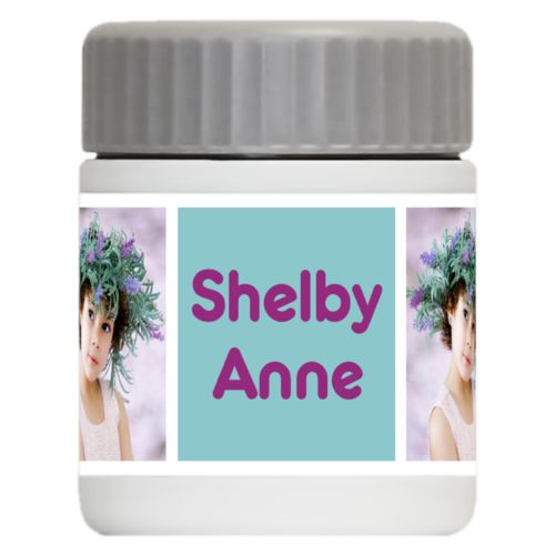 "Personalized 12oz food jar personalized with a photo and the saying ""Shelby Anne"" in dream on - plum and blizzard blue"