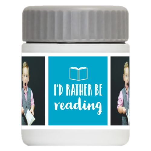 "Personalized 12oz food jar personalized with a photo and the saying ""I'd Rather be Reading"" in juicy blue and white"