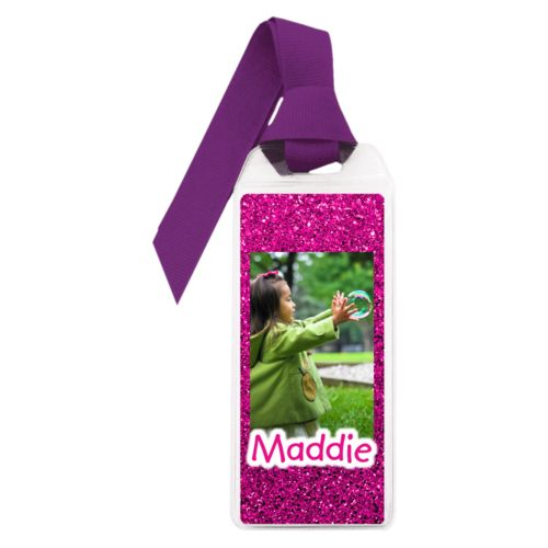 "Personalized book mark personalized with pink glitter pattern and photo and the saying ""Maddie"""