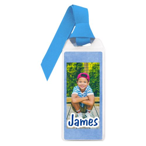 "Personalized book mark personalized with blue chalk pattern and photo and the saying ""James"""