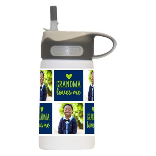 "Kids stainless steel water bottle personalized with a photo and the saying ""Grandma loves me"" in juicy green and navy blue"