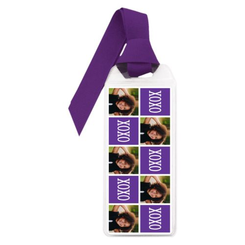 "Personalized book mark personalized with a photo and the saying ""xoxo"" in purple and white"