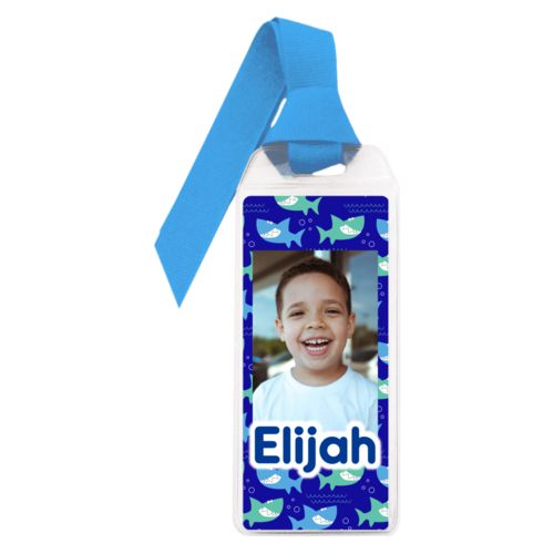 "Personalized book mark personalized with sharks pattern and photo and the saying ""Elijah"""