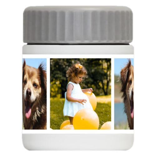 Personalized 12oz food jar personalized with photos