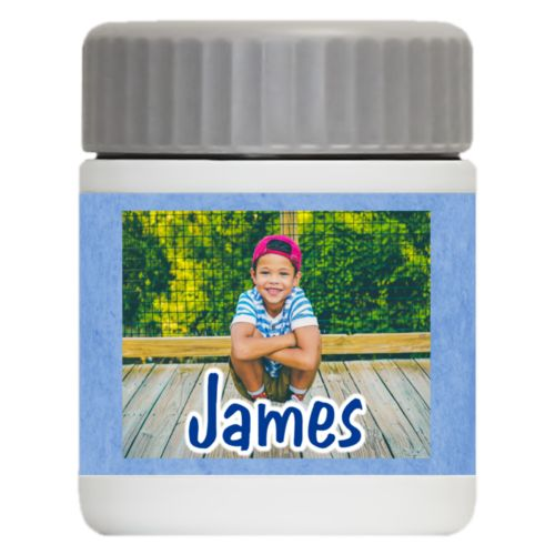"Personalized 12oz food jar personalized with blue chalk pattern and photo and the saying ""James"""