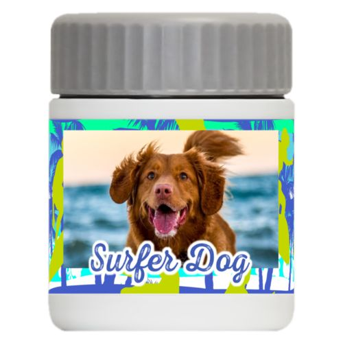 "Personalized 12oz food jar personalized with sup pattern and photo and the saying ""Surfer Dog"""