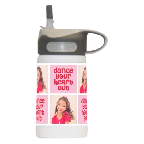 "Childrens water bottle personalized with a photo and the saying ""dance your heart out"" in cherry red and rosy cheeks pink"