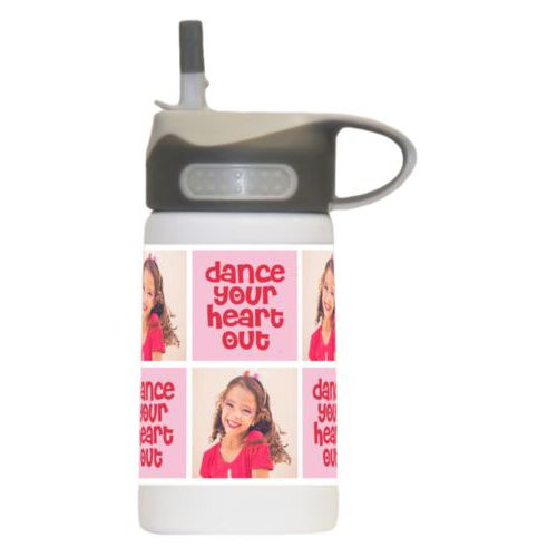 "Personalized water bottle for kids personalized with a photo and the saying ""dance your heart out"" in cherry red and rosy cheeks pink"