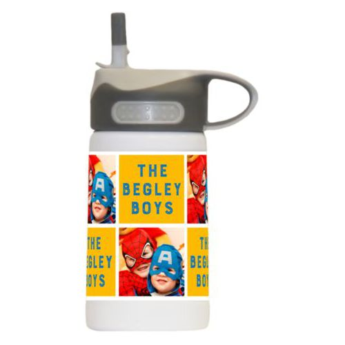 "Personalized water bottle for kids personalized with a photo and the saying ""The Begley Boys"" in blue and gold"