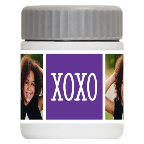 "Personalized 12oz food jar personalized with a photo and the saying ""xoxo"" in purple and white"