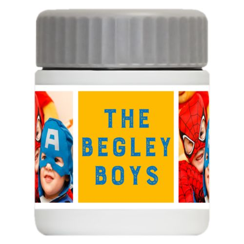 "Personalized 12oz food jar personalized with a photo and the saying ""The Begley Boys"" in blue and gold"