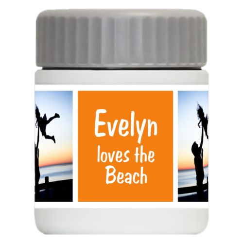 "Personalized 12oz food jar personalized with a photo and the saying ""Evelyn loves the Beach"" in juicy orange and white"