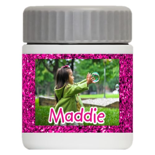 "Personalized 12oz food jar personalized with pink glitter pattern and photo and the saying ""Maddie"""