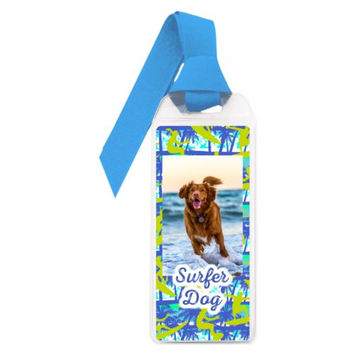 "Personalized book mark personalized with sup pattern and photo and the saying ""Surfer Dog"""