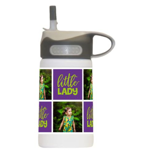 "Personalized water bottle for kids personalized with a photo and the saying ""little lady"" in juicy green and amethyst purple"