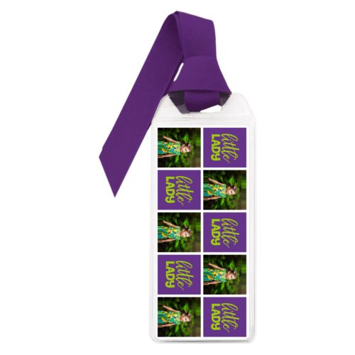 "Personalized book mark personalized with a photo and the saying ""little lady"" in juicy green and amethyst purple"