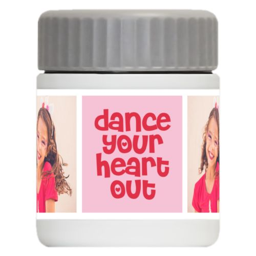 "Personalized 12oz food jar personalized with a photo and the saying ""dance your heart out"" in cherry red and rosy cheeks pink"