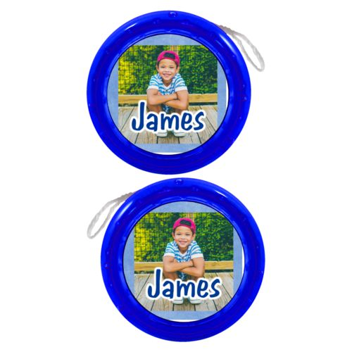 "Personalized yoyo personalized with blue chalk pattern and photo and the saying ""James"""