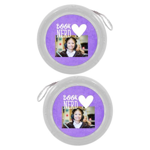 "Personalized yoyo personalized with purple chalk pattern and photo and the sayings ""book nerd"" and ""Heart"""