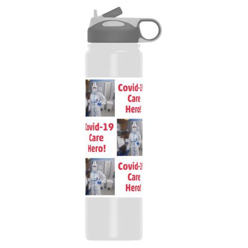 "Insulated water bottle personalized with a photo and the saying ""Covid-19 Care Hero!"" in white and cherry red"