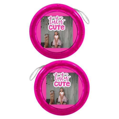"Personalized yoyo personalized with photo and the saying ""tutu cute"""