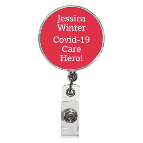 "Personalized badge reel personalized with the saying ""Jessica Winter Covid-19 Care Hero!"""