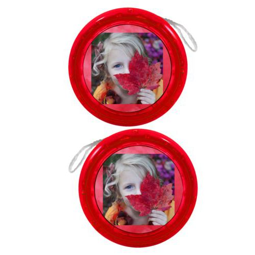 Personalized yoyo personalized with red cloud pattern and photo